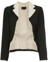 Comme Des Garçons Vintage - contrast-collar blazer - women - Cotone/Wool - S - Nero