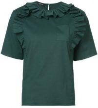 Rochas - poplin ruffle blouse - women - Cotton/Spandex/Elastane - 38, 40, 42 - GREEN