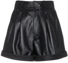 Saint Laurent - Shorts a vita alta - women - Lamb Skin/Silk - 36, 38, 34, 40 - Nero