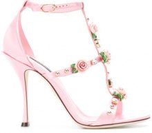 Dolce & Gabbana - rose caged heel sandals - women - Silk/Goat Skin/Leather/Viscose - 39, 35, 36, 36.5, 37, 37.5, 38, 38.5, 40 - PINK & PURPLE