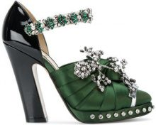 Nº21 - Sandali decorati - women - Leather/Satin - 35.5, 36, 36.5, 39.5 - GREEN