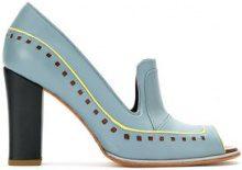 Sarah Chofakian - contrast trim pumps - women - Goat Skin - 35, 36, 37, 39 - BLUE