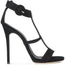 Giuseppe Zanotti Design - rhinestone embellished T-bar sandals - women - Leather/Suede - 36, 39, 40 - BLACK