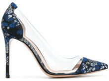 Gianvito Rossi - Pumps floreali 'Plexi' - women - Polyester/Plexiglass/Leather - 36.5, 38.5, 41 - Nero