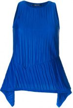 Neil Barrett - creased asymmetric hem top - women - Polyester - S, M, L - BLUE