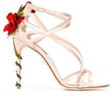Dolce & Gabbana - Sandali con decorazione rosa rampicante - women - Silk/Viscose/Sheep Skin/Shearling/Leather - 37, 38, 39, 37.5, 40, 35, 38.5, 39....