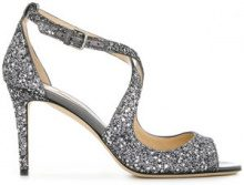 Jimmy Choo - Sandali 'Emily 85' - women - Leather/Sequin - 35.5, 36, 36.5, 37, 37.5, 38, 39, 39.5, 40, 41 - METALLIC