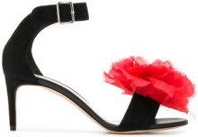 Alexander McQueen - Sandali con applicazione a fiore - women - Leather/Suede/Viscose/Calf Suede - 36, 37, 37.5, 38, 40 - Nero