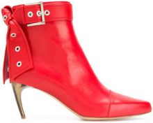 Alexander McQueen - buckle ankle boots - women - Calf Leather/Leather - 36, 37, 38, 39, 39.5, 40, 37.5, 38.5 - RED