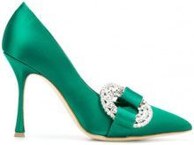 Manolo Blahnik - Pumps 'Tartona' - women - Leather/Satin - 35, 35.5, 36, 37, 37.5, 38, 38.5, 39, 39.5, 40, 41 - Verde