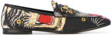 Gucci - Mocassini stampati 'Angry Cat' - women - Cotton/Leather - 35, 35.5, 36, 38, 38.5 - MULTICOLOUR