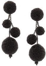 Oscar de la Renta - triple beaded ball earrings - women - Cotton/Plastic/Brass/glass - OS - BLACK