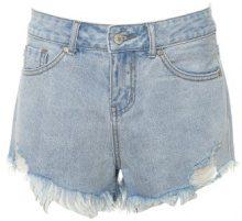 Shorts di jeans a vita alta con orlo aperto