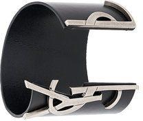 Saint Laurent - Bracciale rigido Opyum Monogramme - women - Leather/Metal (Other) - S, M, L - BLACK