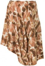 Comme Des Garçons Vintage - petal-print asymmetric skirt - women - Silk - XS - Marrone
