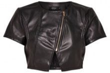 ONLY Leather Look Bolero Women Black