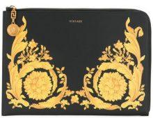 Versace - Clutch con stampa barocca - women - Calf Leather - One Size - Nero