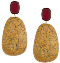 Isabel Marant - Orecchini quadrati - women - Brass/ceramic - OS - YELLOW & ORANGE