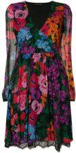 Twin-Set - floral flared dress - women - Polyester/Viscose - 40 - BLACK