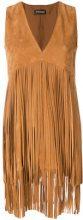 Twin-Set - V-neck fringe dress - women - Polyester/Goat Suede - 40, 42 - BROWN