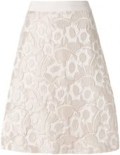Luisa Cerano - embossed detail A-line skirt - women - Cotton/Polyamide/Polyester/Viscose - 34 - NUDE & NEUTRALS