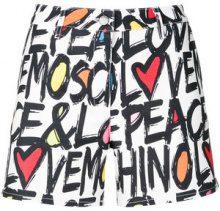 Love Moschino - Pantaloni corti con logo - women - Cotone/Linen/Flax/Spandex/Elastane - 44, 42 - Multicolore