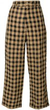 Aspesi - cropped checkered trousers - women - Cotton/Linen/Flax/Lyocell - 44, 40 - BROWN