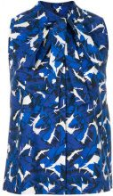 MSGM - leaf print sleeveless blouse - women - Cotone - 40, 42 - Blu