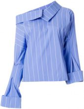 Erika Cavallini - asymmetric striped blouse - women - Cotton/Polyester/Lyocell - 42 - BLUE