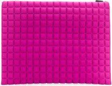 No Ka' Oi - large grid textured pouch - women - Polyamide/Polyurethane/Spandex/Elastane - OS - PINK & PURPLE