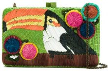 Serpui - embroidered straw clutch - women - Straw - OS - Verde