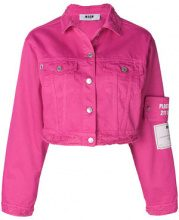 MSGM - Giacca in denim corta - women - Cotton - 42 - PINK & PURPLE