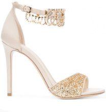 Monique Lhuillier - Sandali con glitter e diamanti - women - Satin/Leather - 35, 35.5, 36, 36.5, 37, 37.5, 38, 38.5, 39, 39.5 - NUDE & NEUTRALS