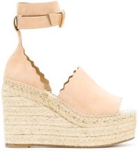 Chloé - scalloped wedge sandals - women - Leather - 37, 38, 39, 40 - NUDE & NEUTRALS