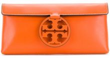Tory Burch - T-logo medallion clutch - women - Leather - One Size - YELLOW & ORANGE