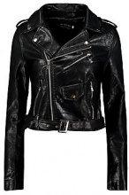 Savannah giacca corta in stile motociclista effetto pelle con cerniera