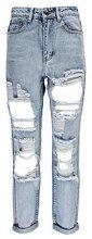 Sara jeans azzurro chiaro taglio maschile con ampi strappi