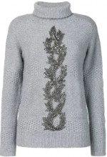 Jo No Fui - Dolcevita con ricamo di perline - women - Cashmere/Wool/Polyamide/metal - XS, S, M, L - GREY