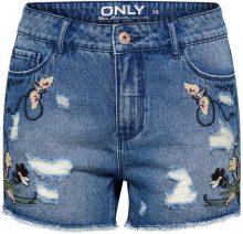 ONLY Pacy High Waist Embroidery Denim Shorts Women Blue