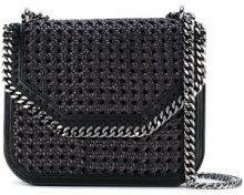 Stella McCartney - Black Falabella Box wicker Medium Shoulder Bag - women - Polyurethane/Polyester/Cotton - One Size - BLACK