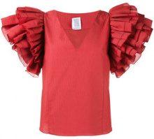 Rosie Assoulin - Blusa con maxi ruche - women - Silk/Cotone/Nylon/Polyester - XS, S, M, L - RED