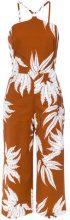 Andrea Marques - fern print jumpsuit - women - Cotton/Spandex/Elastane - 36, 42, 44 - BROWN