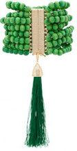 Rosantica - Etna beaded bracelet - women - Wood/quartz/Brass - OS - GREEN