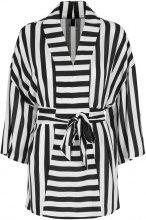 Y.A.S Striped Kimono 3/4 Sleeved Blouse Women Black