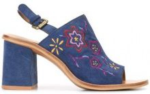 See By Chloé - embroidered sandals - women - Calf Suede/Leather/rubber - 36, 36.5, 39, 39.5, 40, 40.5, 41, 35.5 - Blu