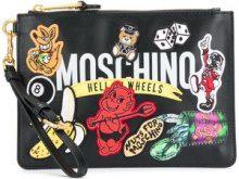 Moschino - Borsa Clutch con applicazione logo - women - Leather - OS - BLACK