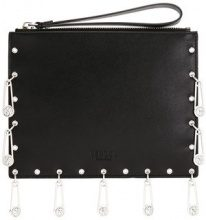 Versus - pins embellished clutch - women - Calf Leather - OS - BLACK