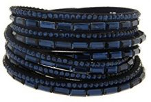 Kettenworld Bracciale in morbida ecopelle con strass decorativi in diversi colori & versioni, acciaio inossidabile, colore: Blu scuro, cod. 370661