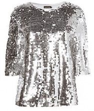 Tall Ava Boxy Sequin Crop Top