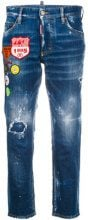 Dsquared2 - cropped distressed jeans with patches - women - Cotton/Spandex/Elastane/Polyester - 36, 38, 40, 42, 44 - BLUE